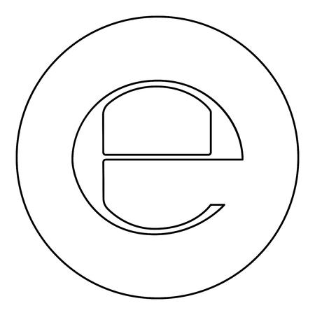 Estimated sign E mark symbol e icon black color in round circle outline vector illustration