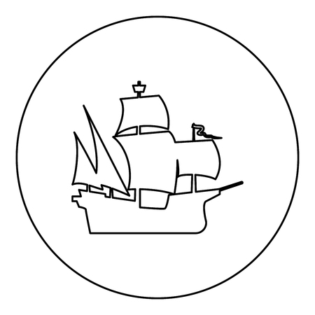 Medieval ship icon black color in round circle outline vector illustration Illustration
