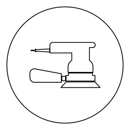 Eccentric grinder icon black color in round circle outline vector illustration