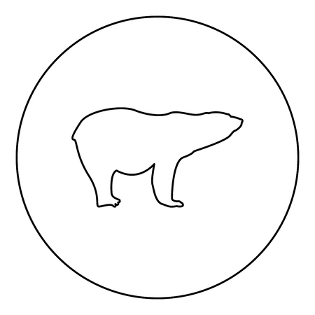 Polar bear icon black color in round circle outline vector illustration