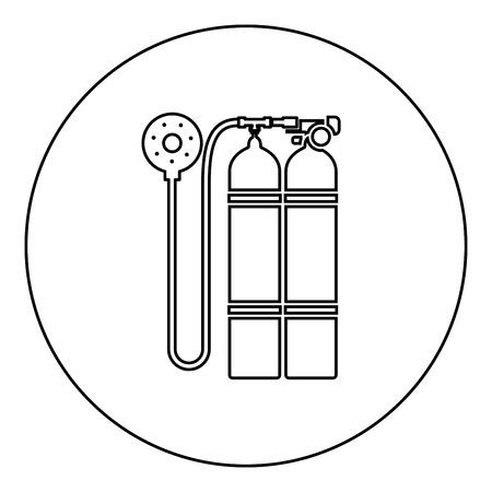 Aqualung scuba icon black color in round circle outline vector illustration Vecteurs