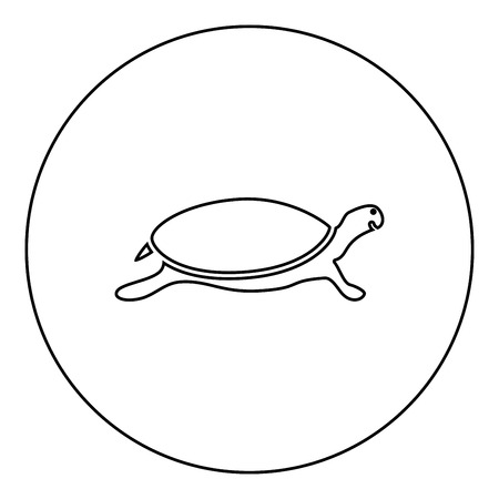 Tortoise turtle icon black color in round circle outline vector illustration