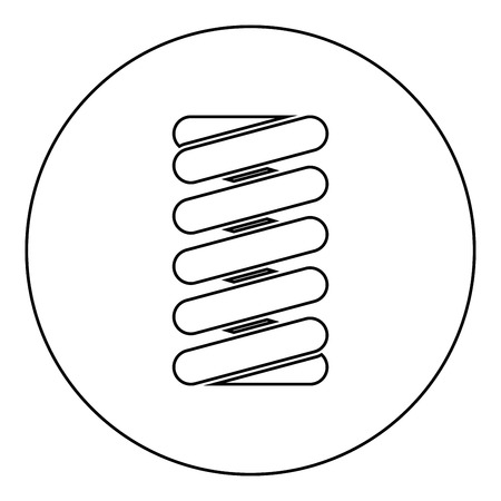 Spring coil icon black color in round circle outline vector illustration
