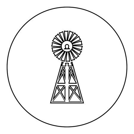 Wind turbine windmill classic american icon black color in round circle outline vector illustration