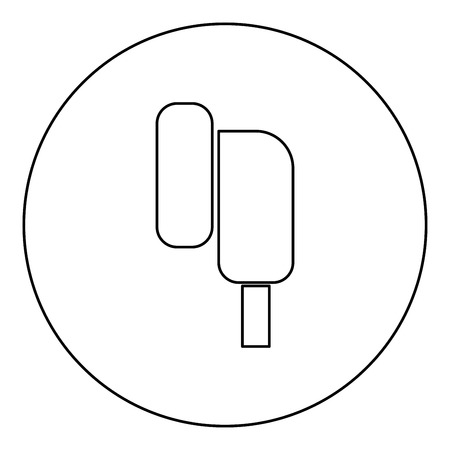 Eearphone plug icon black color in round circle outline vector illustration