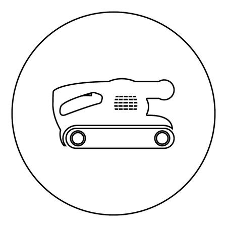 Belt sanding machine for grain finishing held polishing power tool icon black color in round circle outline vector illustration