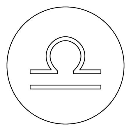 Libra symbol zodiac icon black color in round circle outline vector illustration Vectores