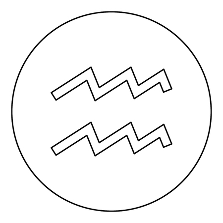 Aquarius symbol zodiac icon black color in round circle outline vector illustration