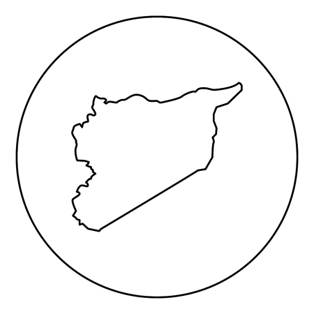 Map of Syria icon black color in round circle outline vector illustration