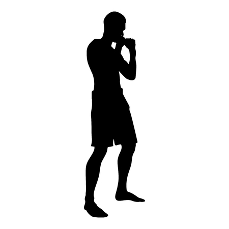 Fighter in fighting stance Man doing exercises Sport action male Workout silhouette side view icon black color vector illustration flat style simple image