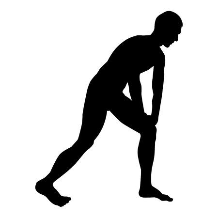 Homme faisant des exercices pour s'échauffer Action Sport silhouette d'entraînement masculin avant d'exécuter l'icône vue latérale couleur noire illustration vectorielle style plat image simple Vecteurs