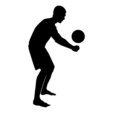 Volleyball player hits the ball with bottom silhouette side view Attack ball icon black color vector illustration flat style simple image