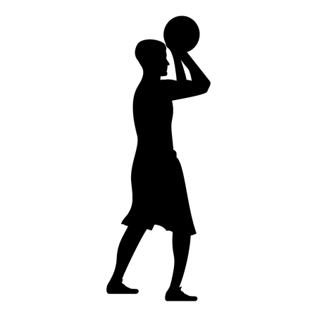 Basketball player throws a basketball Man shooting ball side view icon black color vector illustration flat style simple image
