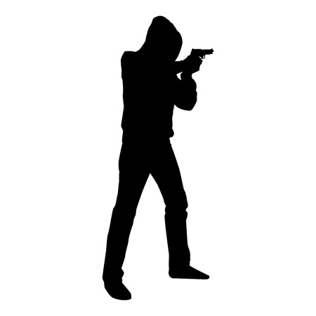 Man in the hood with gun Concept danger short arm icon black color vector illustration flat style simple image Ilustração