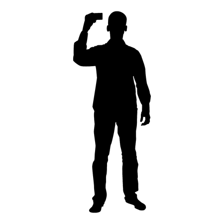 Man shows card in his hand Business card in hand businessman silhouette icon black color vector illustration flat style simple image
