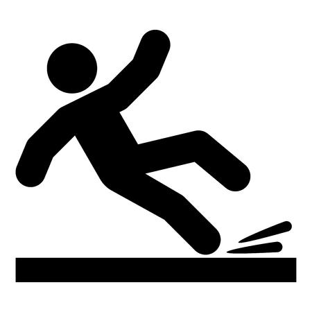 Chute de l'homme icône couleur noire illustration vectorielle style plat image simple Vecteurs