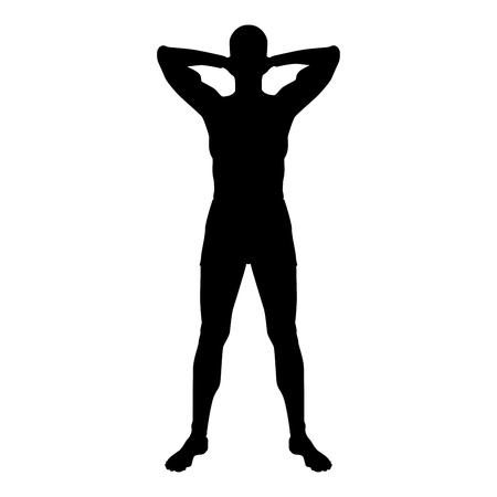 Concept se détendre Sportsman faisant de l'exercice L'homme tient les mains derrière l'icône de la tête couleur noire illustration vectorielle style plat image simple