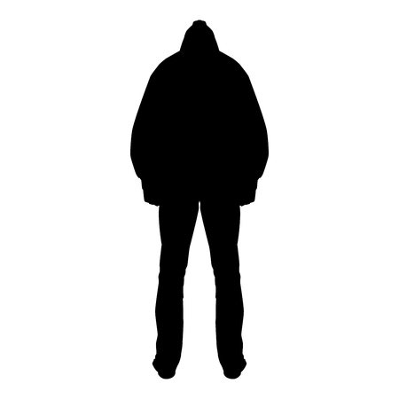 Man in the hood concept danger silhouette back side icon black color vector illustration flat style simple image Illustration