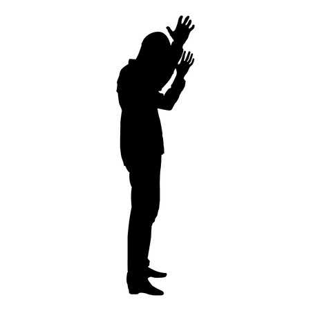 Concept of failure what is it for me problem Man raised hands silhouette icon black color vector illustration flat style simple image
