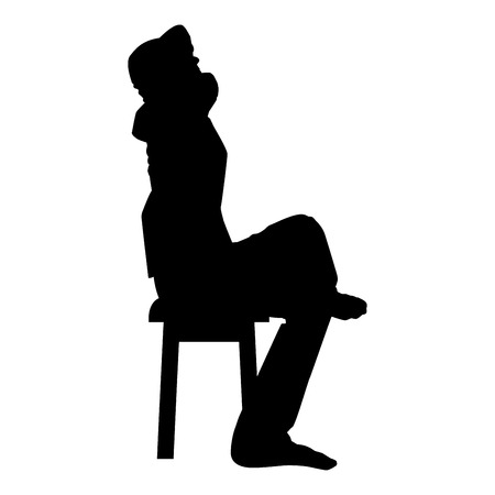Man sitting pose with hands behinds head Young man sits on a chair with his leg thrown silhouette icon black color vector illustration flat style simple image Illusztráció