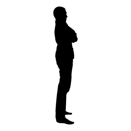 Confident man crossed his arms Business man silhouette concept side view icon black color vector illustration flat style simple image