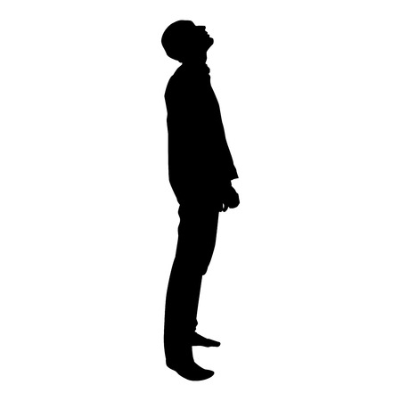 Man looks up silhouette icon black color vector illustration flat style simple image Ilustração