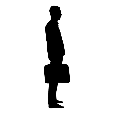Homme d'affaires avec une mallette debout Homme avec un sac d'affaires dans sa main silhouesse icône couleur noire illustration vectorielle style plat image simple Vecteurs