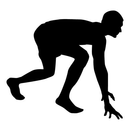 Coureur se préparant à commencer à courir Démarrer à courir Coureur dans une posture prête à sprinter silhouette Prêt à démarrer icône couleur noire illustration vectorielle style plat image simple Vecteurs
