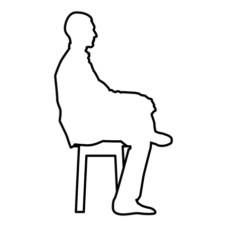 Man sitting pose Young man sits on a chair with his leg thrown silhouette icon black color vector illustration flat style simple image outline