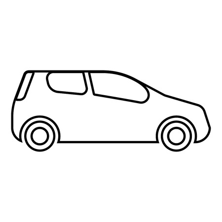 car Compact shape for travel racing icon black color vector illustration flat style simple image outline Illustration