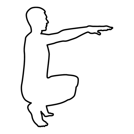 Crouching Man doing exercises crouches squat Sport action male Workout silhouette side view icon black color vector illustration flat style simple image outline