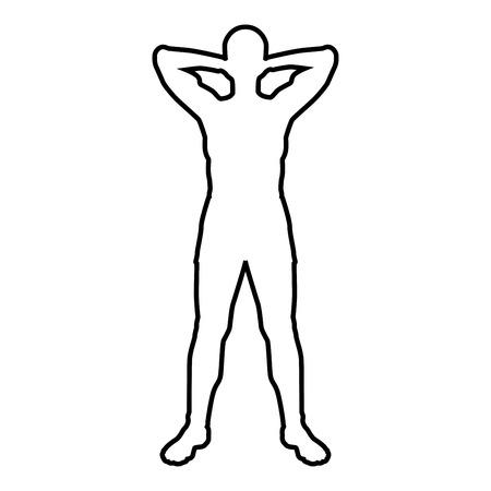 Concept relax sportif faisant de l'exercice L'homme tient les mains derrière l'icône de la tête couleur noire illustration vectorielle style plat image simple contour