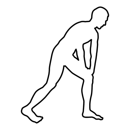 Man doing exercises for warm up Sport action male Workout silhouette before you run side view icon black color vector illustration flat style simple image outline