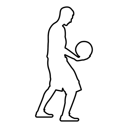 Basketball player holding ball Man holding basketball silhouette icon black color vector illustration flat style simple image outline Ilustrace