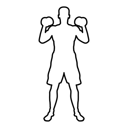 Man doing exercises with dumbbells Sport action male Workout silhouette front view icon black color vector illustration flat style simple image outline
