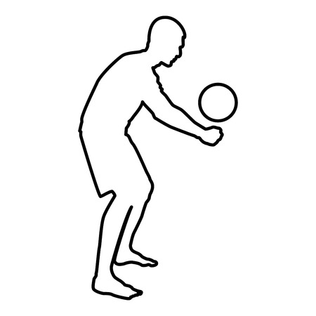 Volleyball player hits the ball with bottom silhouette side view Attack ball icon black color vector illustration flat style simple image outline Ilustração