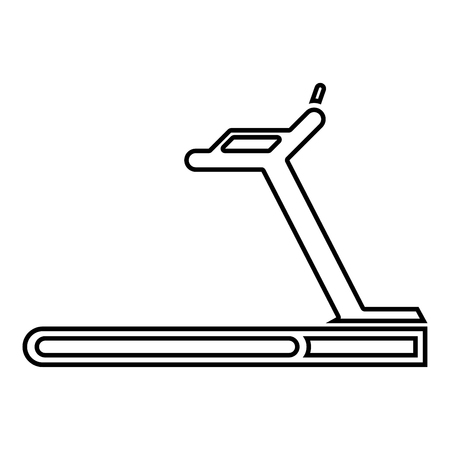 Treadmill machine icon black color vector illustration flat style simple image outline Ilustração