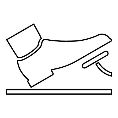 Fuß drückt das Pedal Gaspedal Bremspedal Auto Service Konzept Symbol Farbe schwarz Vector Illustration Flat Style simple Image outline