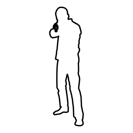Man with gun silhouette criminal person concept front view icon black color vector illustration flat style simple image outline