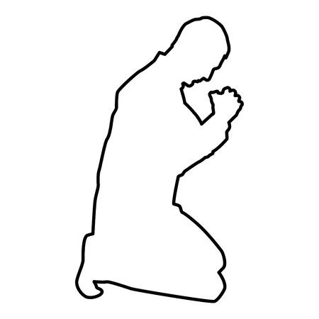 L'uomo prega in ginocchio silhouette icona colore nero illustrazione vettoriale stile piatto semplice immagine outline Vettoriali