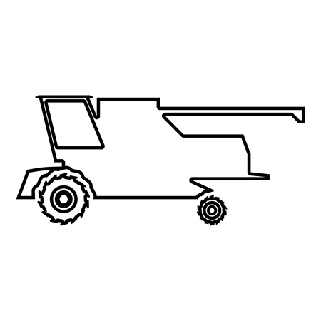 Farm harvester for work on field Combine icon black color vector illustration flat style simple image outline