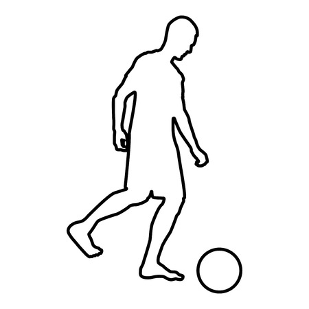 Man kicks the ball silhouette Soccer player kicking ball side view icon black color vector illustration flat style simple image outline  イラスト・ベクター素材