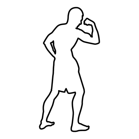 Bodybuilder showing biceps muscles Bodybuilding sport concept silhouette side view icon black color vector illustration flat style simple image outline