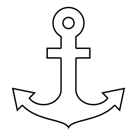 Ship anchor for marine nautical design icon black color vector illustration flat style simple image outline Ilustração