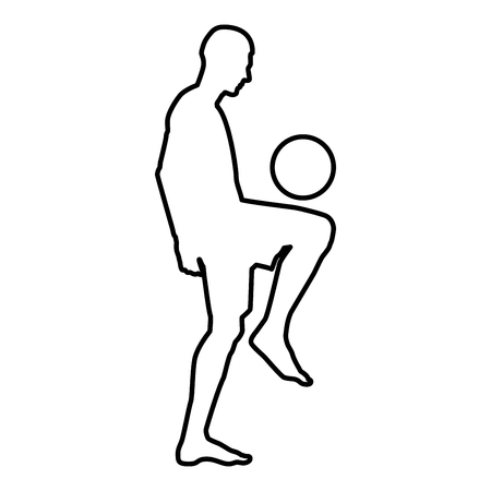 Soccer player juggling ball with his knee or stuffs the ball on his foot silhouette icon black color vector illustration flat style simple image outline