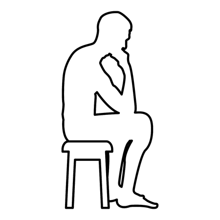 Thinking man sitting on a stool silhouette icon black color vector illustration flat style simple image outline