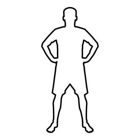 Man holding hands on belt confidence concept silhouette manager business icon black color vector illustration flat style simple image outline