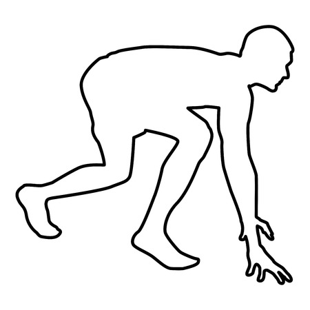 Runner preparing to start running Start running Runner in ready posture to sprint silhouette Ready to start icon black color vector illustration flat style simple image outline