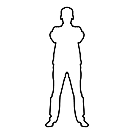 Confident man crossed his arms Business man silhouette concept front view icon black color vector illustration flat style simple image outline