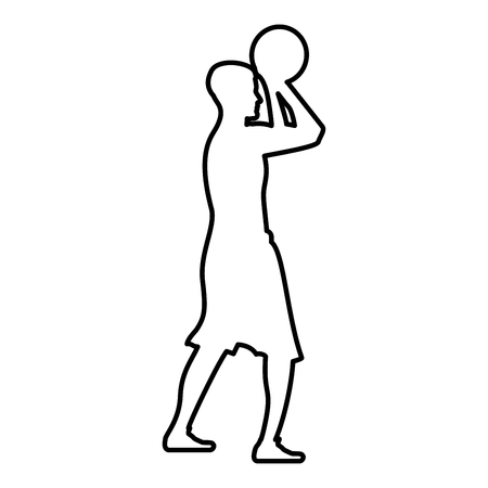 Basketball player throws a basketball Man shooting ball side view icon black color vector illustration flat style simple image outline Banque d'images - 127673353